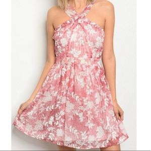 Rose Pink Dress HalterTop Size Small